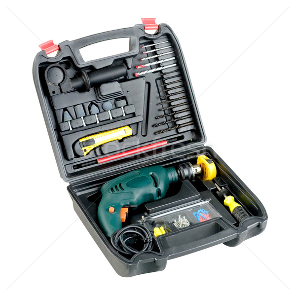 drilling screwdriver and tools in the box isolated  Stock photo © JohnKasawa