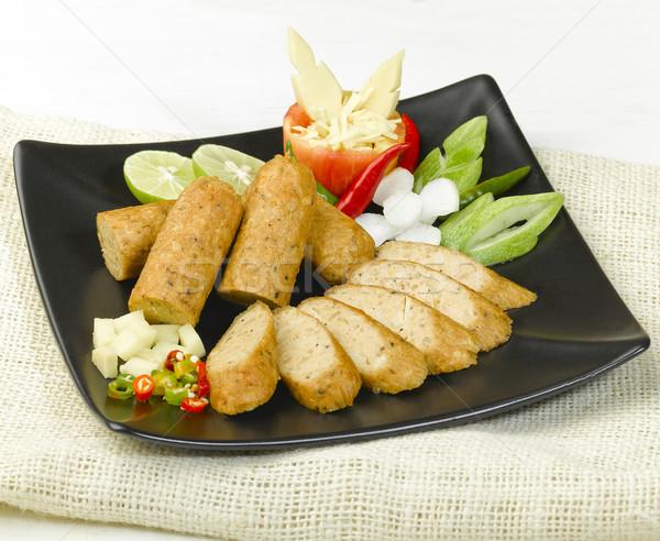 Vegetáriánus kolbászok ízlés bioélelmiszer étel természet Stock fotó © JohnKasawa