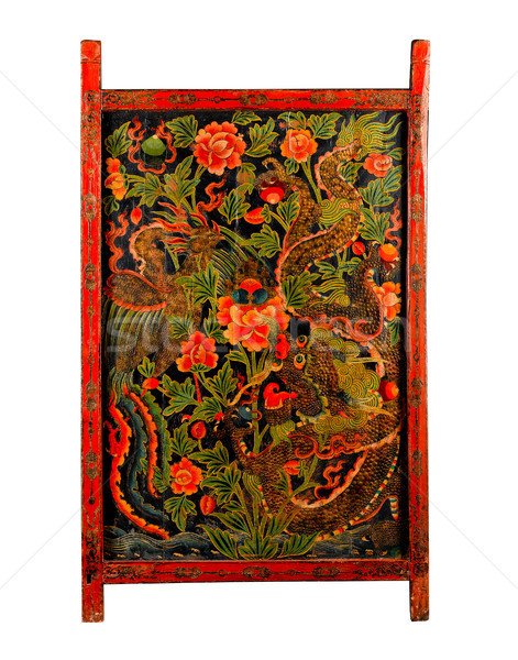 Tibet ancient painting door with story about buddhism religion Stock photo © JohnKasawa