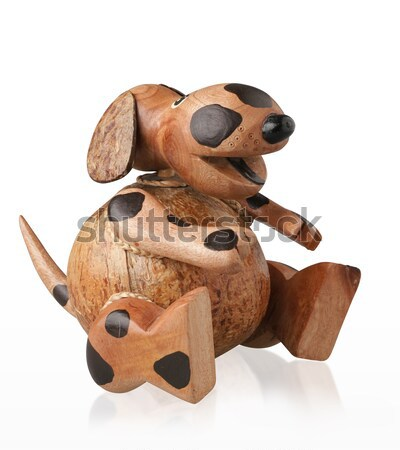 Cute piggy bank handicraft wooden dog on white  Stock photo © JohnKasawa