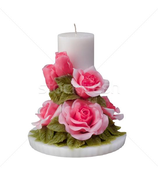 Roses handicraft candle lifht isolated   Stock photo © JohnKasawa