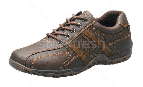 Casual brown leather shoe isolates on white background  Stock photo © JohnKasawa