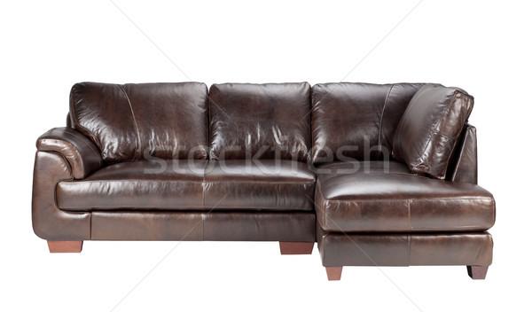 Mooie comfortabel luxe echt leder sofa Stockfoto © JohnKasawa