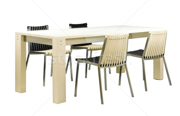 Beautiful dinning table furniture and chairs set in ivory color  Stock photo © JohnKasawa