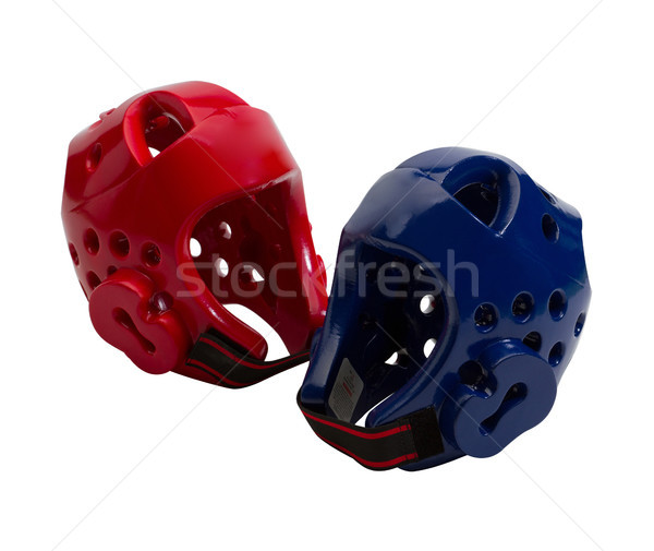 Stock photo: Red and blue taekwond head guard isolated