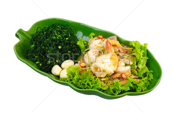 Salad Yam fresh shrimp one of Thai favorite menu isolaated on wh Stock photo © JohnKasawa
