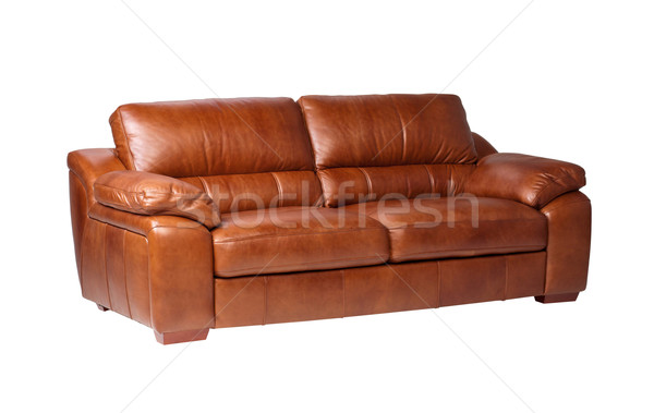 Nice luxury design of genuine leather sofa bench isolated on whi Stock photo © JohnKasawa