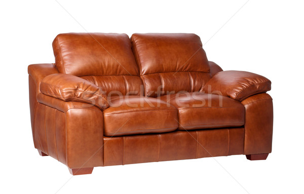 Genuine home furniture leather sofa in brown color isolated on white background    Stock photo © JohnKasawa
