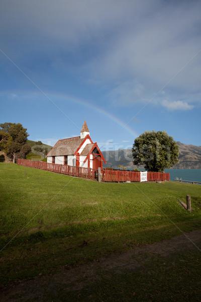 Nice Maori church on a sunny day in Akaroa south island New Zeal Stock photo © JohnKasawa