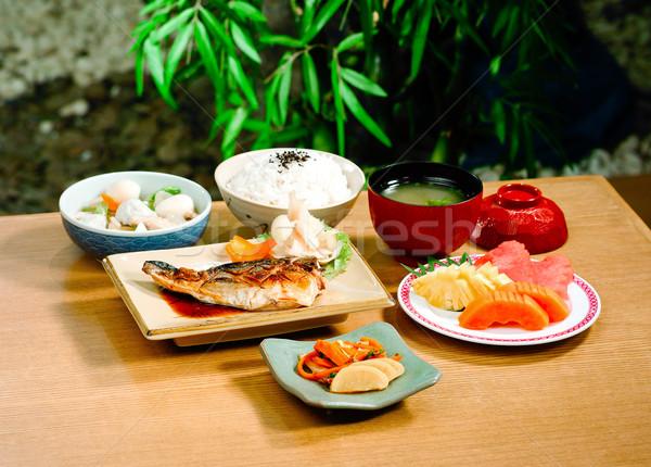 гриль японская еда набор продовольствие рыбы здоровья Сток-фото © JohnKasawa