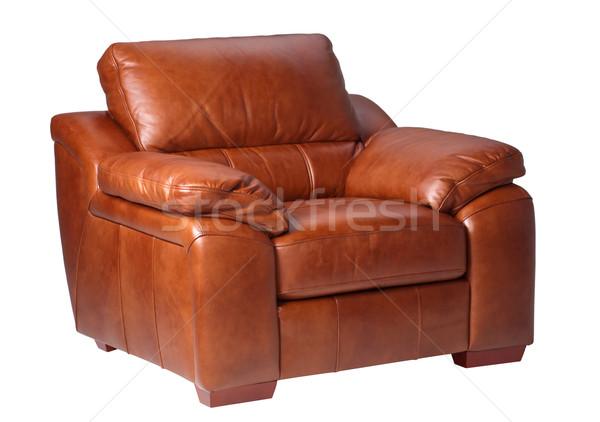 Luxe comfortabel leder fauteuil echt bruin Stockfoto © JohnKasawa