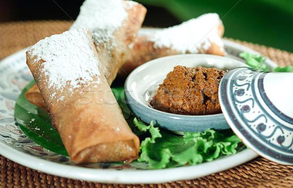 Fried spring roll mediterranean food style Stock photo © JohnKasawa