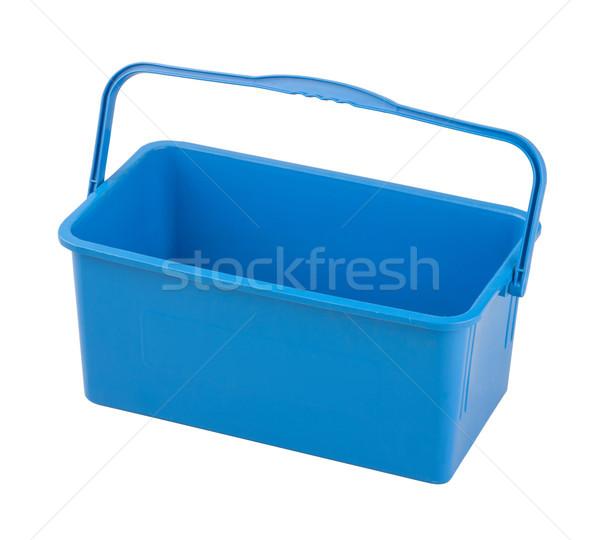 empty blue plastic household bucket on a white background Stock photo © JohnKasawa