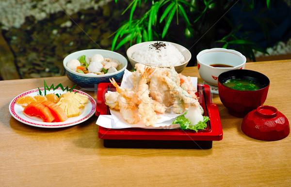 Set cibo giapponese stile alimentare pesce salute Foto d'archivio © JohnKasawa