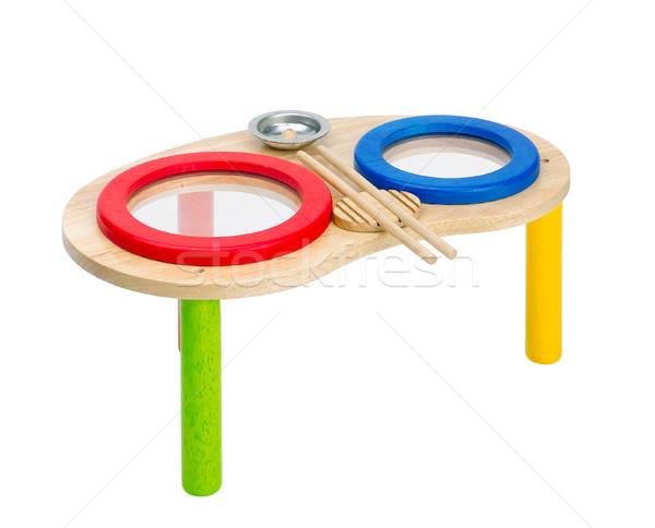 Colorido brinquedo de madeira bateria crianças verde vermelho Foto stock © JohnKasawa