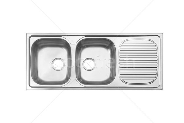 Top view of sink the necessary kitchenware isolated on white Stock photo © JohnKasawa