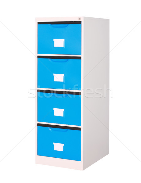 Blue cabinet stainless streel factory furniture isolated on whit Stock photo © JohnKasawa