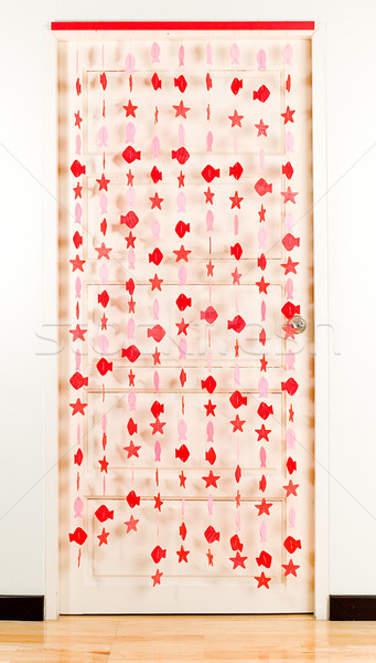 Striped line in fish shape curtain for decorate your door Stock photo © JohnKasawa