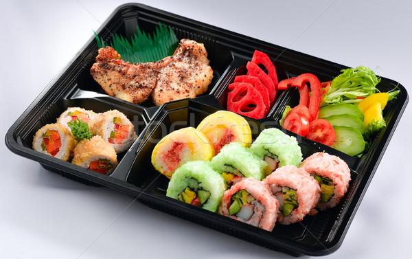 Japanese sushi set pranzo finestra isolato Foto d'archivio © JohnKasawa