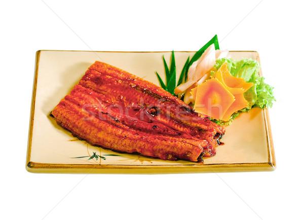ızgara yılanbalığı japon gıda menü göstermek yemek Stok fotoğraf © JohnKasawa