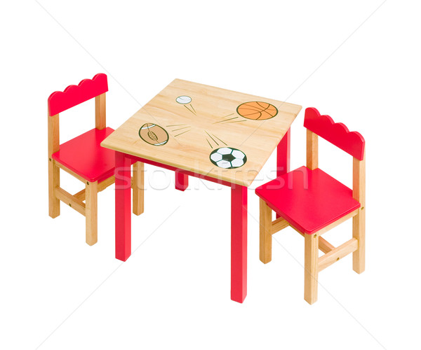 nice table and chairs in red color for kid  Stock photo © JohnKasawa