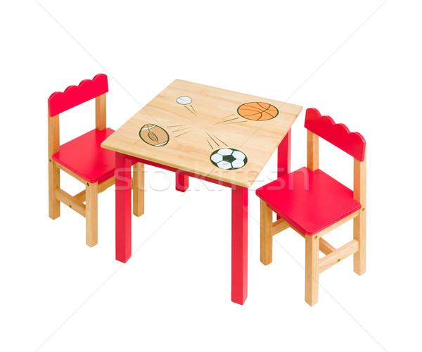 Foto d'archivio: Nice · tavola · sedie · rosso · colore · kid