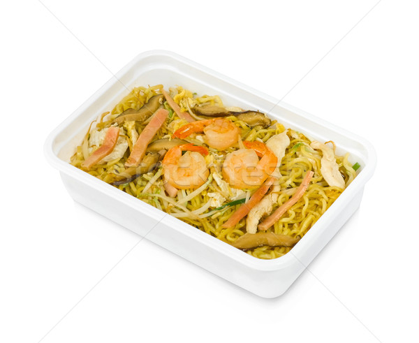 Fried noodle with shrimp storage in a lunchbox easy and convenience Stock photo © JohnKasawa