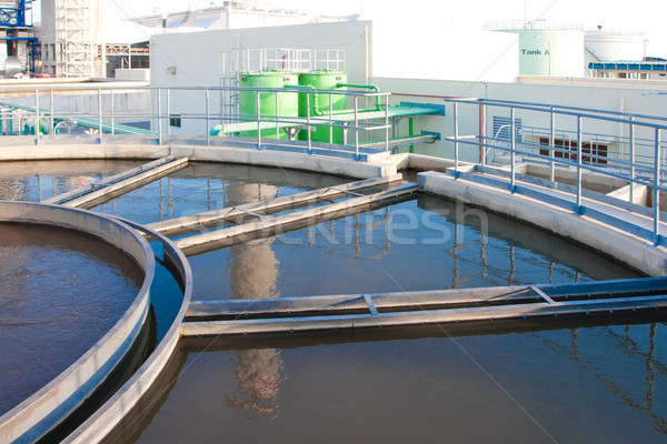 Water treatment tanks in waste water treatment systems to make i Stock photo © JohnKasawa