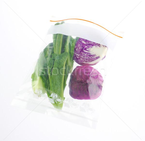 Zöldségek állandóan friss cipzár táska izolált Stock fotó © JohnKasawa