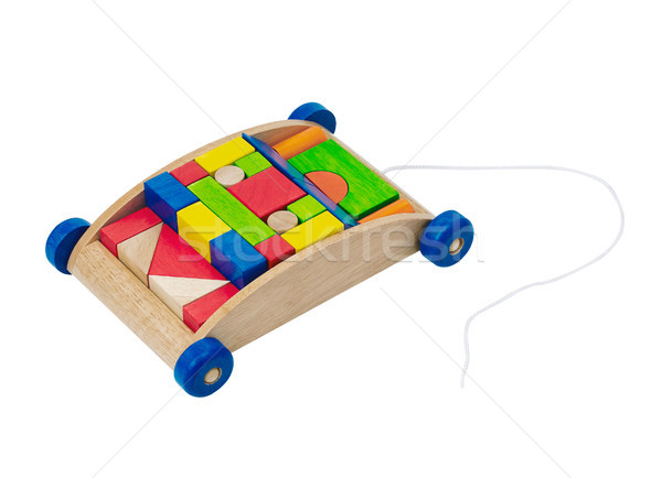 Nice colorful blocks in the carriage wooden cart isolated  Stock photo © JohnKasawa