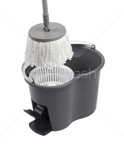 Cleaning container with mop spinning systems isolated on white b Stock photo © JohnKasawa