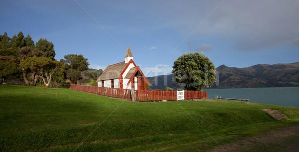 Nice panorama view of Maori church on a sunny day in Akaroa sout Stock photo © JohnKasawa