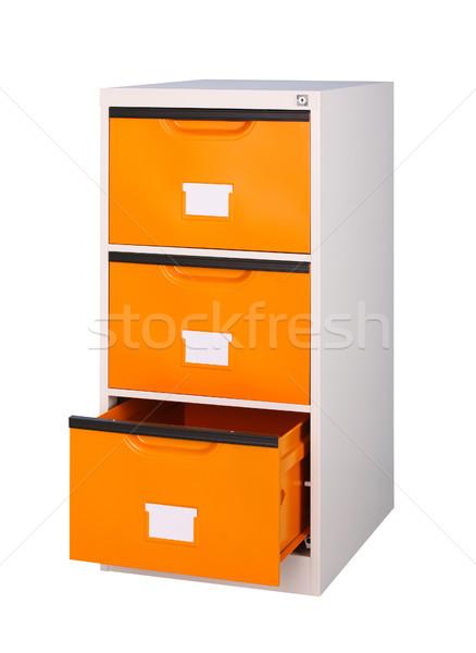 Három fiókok faliszekrény fényes narancs szín Stock fotó © JohnKasawa