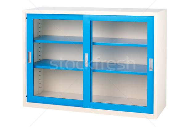 Beautiful blue empty cabinet with transparent mirror doors Stock photo © JohnKasawa