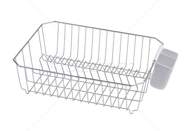 Plats stockage rack aluminium cuisine isolé Photo stock © JohnKasawa