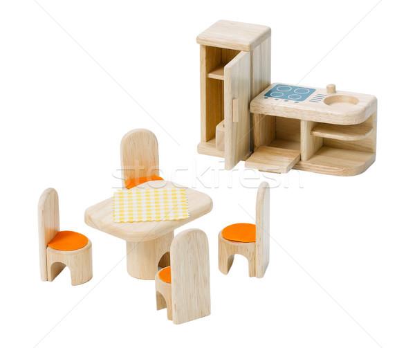 Wooden kitchen toys set isolates on white  Stock photo © JohnKasawa
