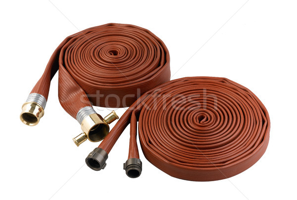 fire hose soft pipe extension water cable isolated on white Stock photo © JohnKasawa