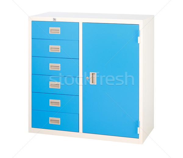 Cabinet with drawers and locker in blue it's steel furniture Stock photo © JohnKasawa
