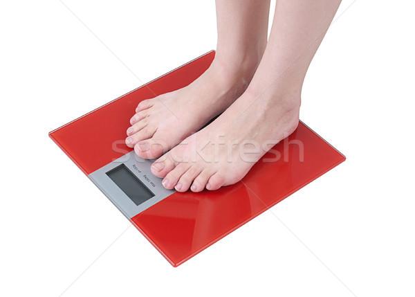 Digital slim weight floor scale isolated on white Stock photo © JohnKasawa