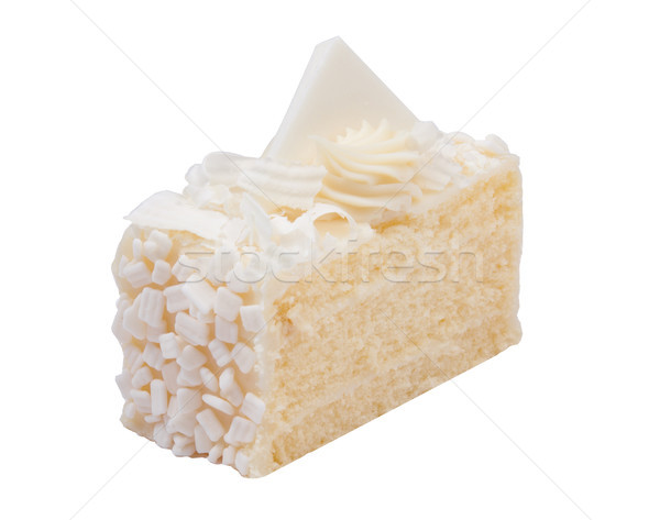 Vanilla favor cake topping with white chocolate isolates on whit Stock photo © JohnKasawa