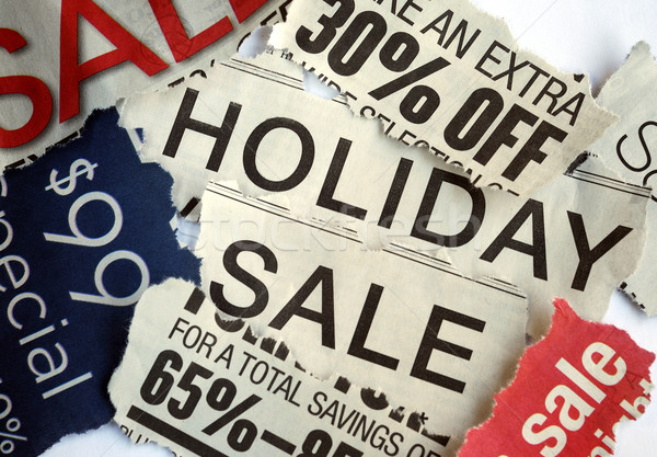 Various holiday on sale signs from the newspapers Stock photo © johnkwan
