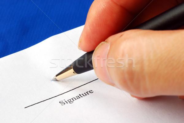 Teken naam papier pen geïsoleerd Blauw Stockfoto © johnkwan