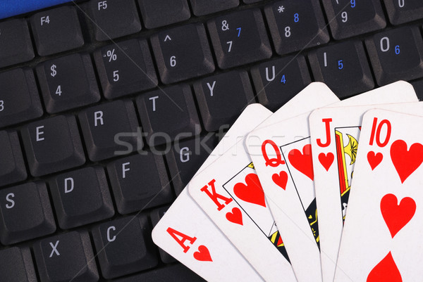 Play cards on a keyboard concepts of online gambling Stock photo © johnkwan