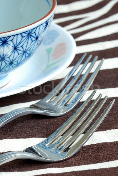 Getting ready for the meal time with utensil on the placemat Stock photo © johnkwan