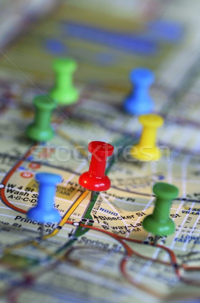 Color pins on a map concept of marketing strategy Stock photo © johnkwan