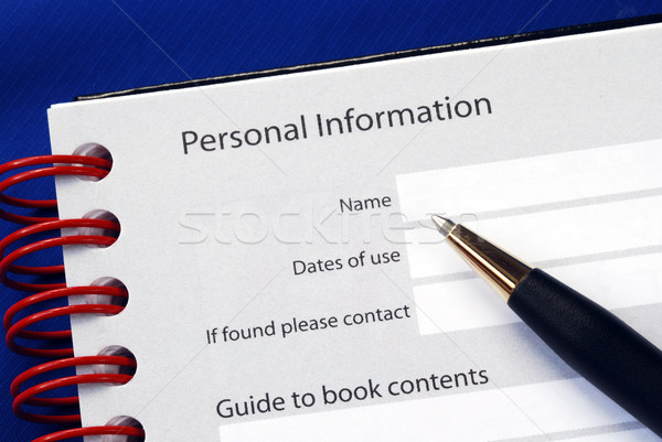 Fill in the personal information isolated on blue Stock photo © johnkwan