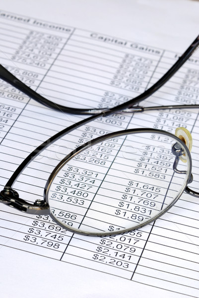 Check the numbers on the spreadsheet with shallow DOF Stock photo © johnkwan