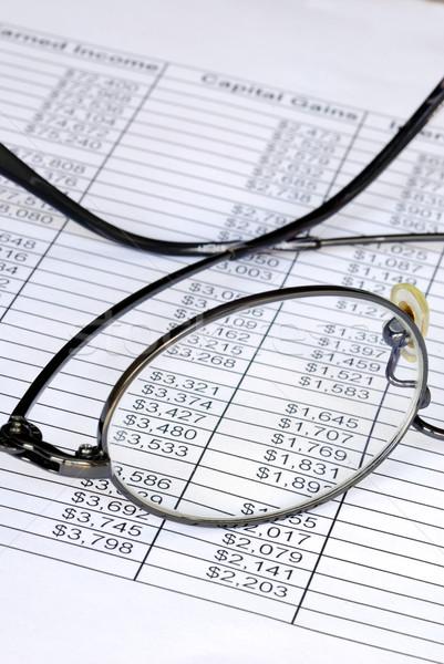 Sprawdzić numery arkusz kalkulacyjny płytki okulary Zdjęcia stock © johnkwan