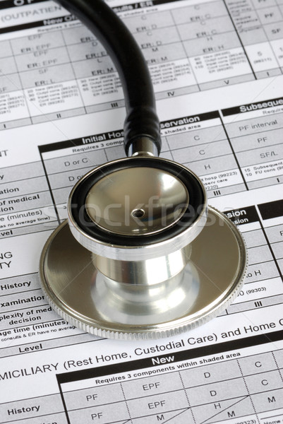 A stethoscope on the top of a medical utilization document concepts of optimizing the medical benef Stock photo © johnkwan