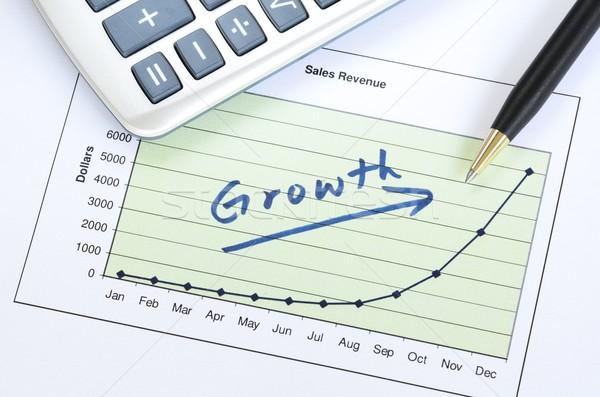 Büyüme iş başarılı kâğıt kalem hesap makinesi Stok fotoğraf © johnkwan